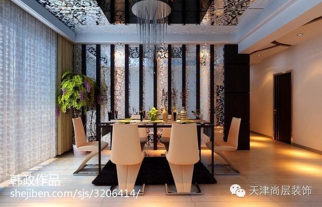 时尚现代简约装修风格餐厅吊顶效果图