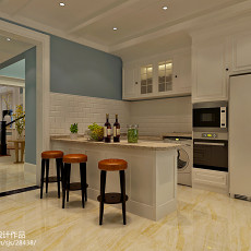 热门面积112平别墅厨房美式装修实景图片欣赏