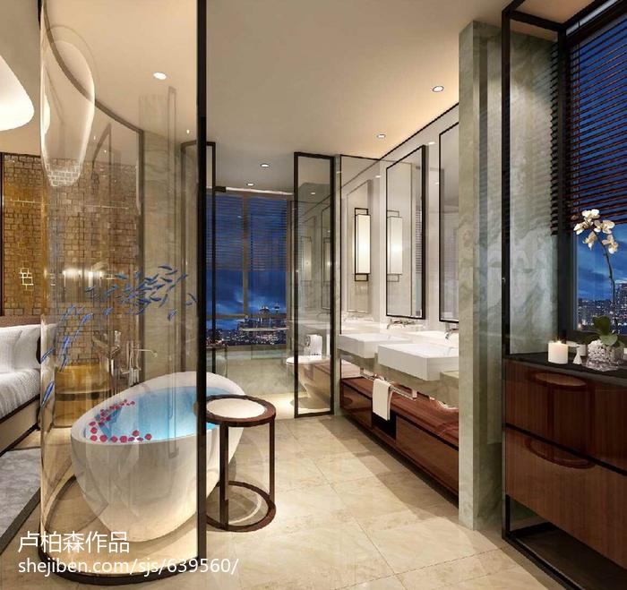 2018最新面积112平别墅卫生间现代装修设计效果图片
