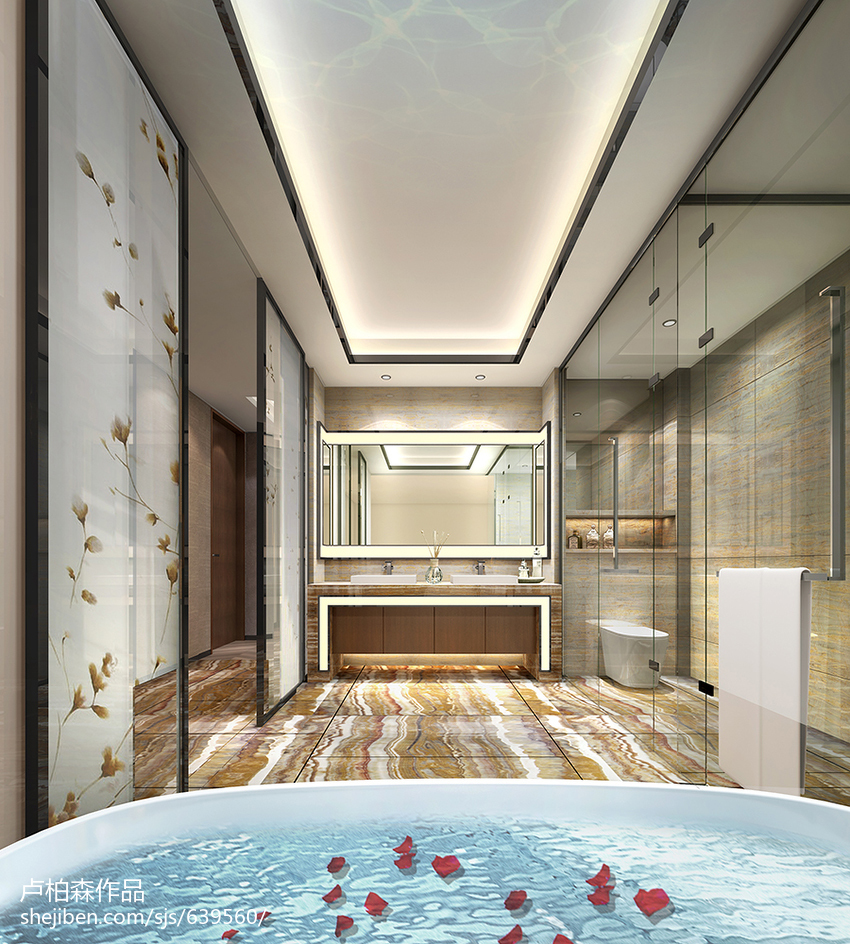 最火大小110平别墅卫生间现代装修设计效果图