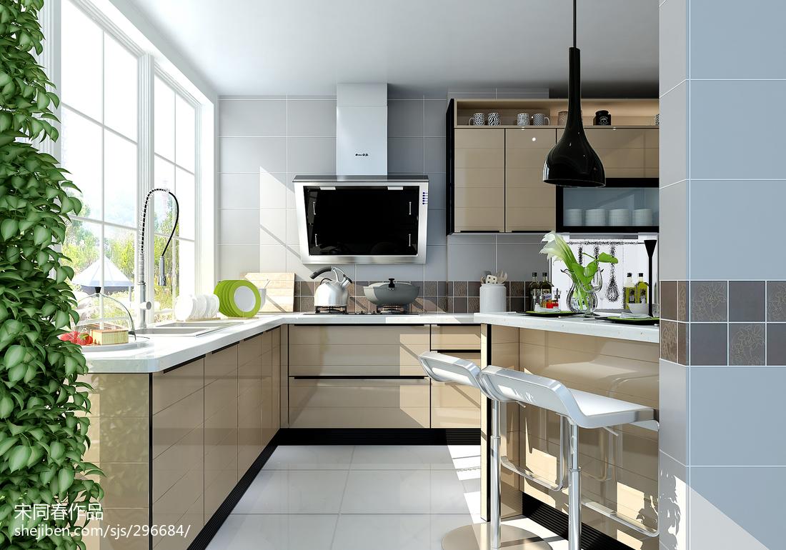 2018精选面积98平现代三居厨房效果图片