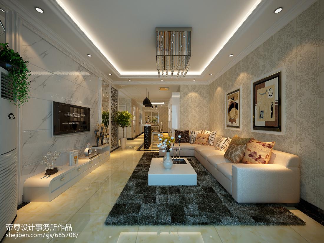 热门面积78平现代二居客厅装修效果图片