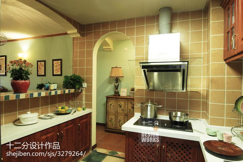 2018三居厨房美式装修设计效果图片欣赏