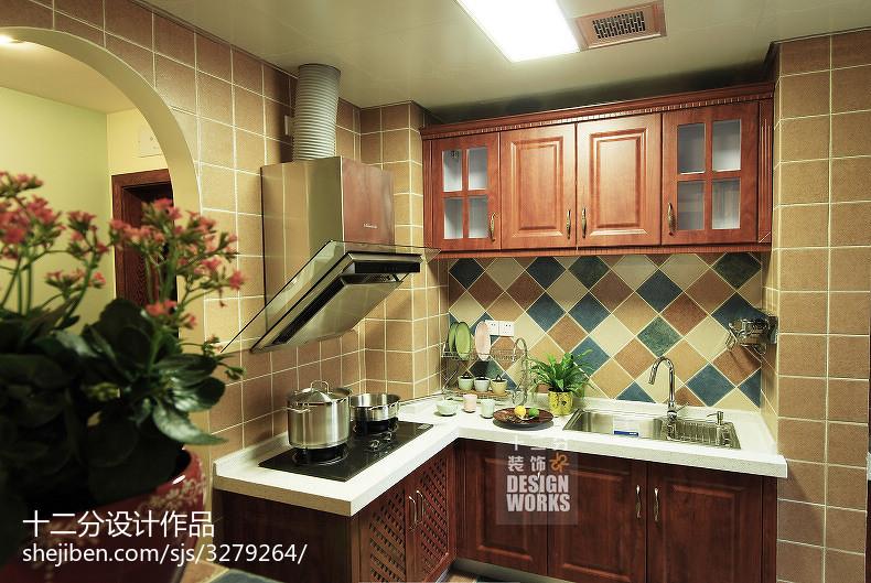 精美面积94平美式三居厨房装饰图片欣赏
