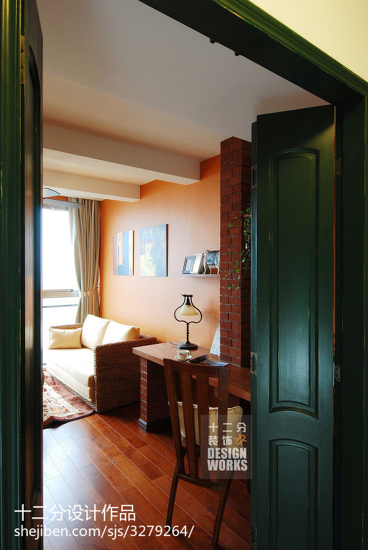 面积100平美式三居书房装饰图