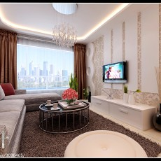 热门面积70平小户型客厅现代装修实景图片