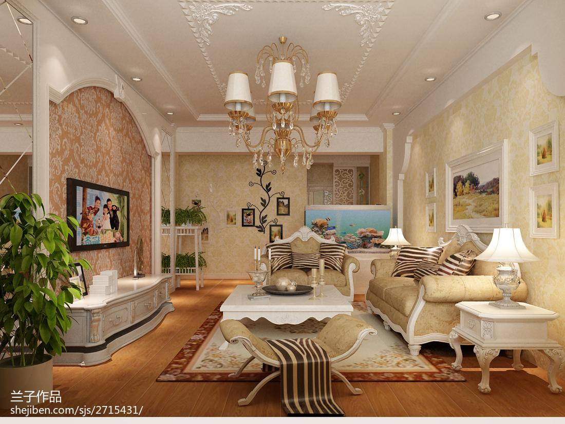 2018精选74平米二居客厅欧式装修设计效果图片大全
