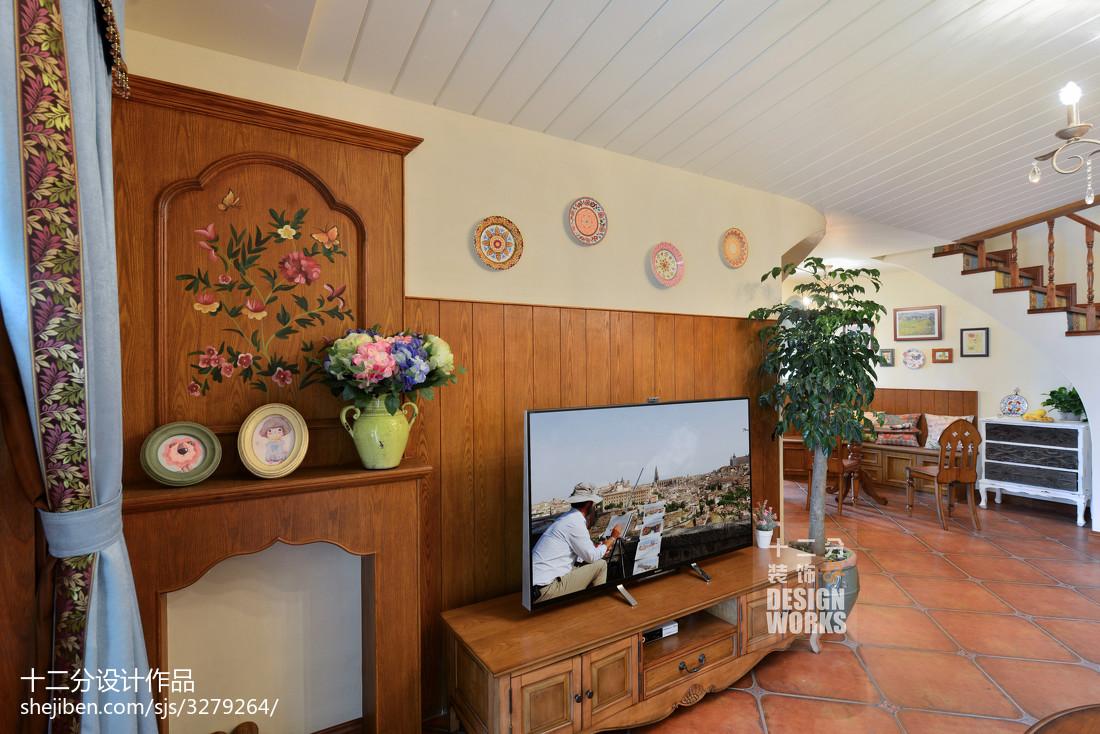 2018面积125平复式客厅田园装修图