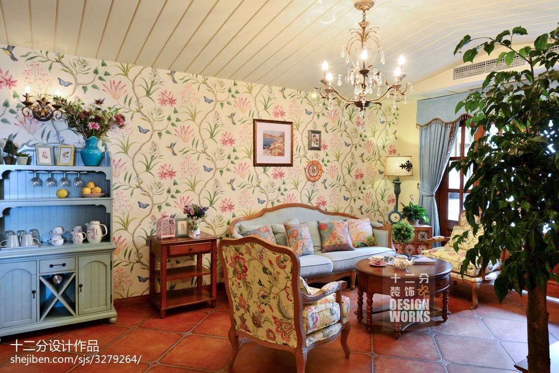 精美复式客厅田园装饰图片大全
