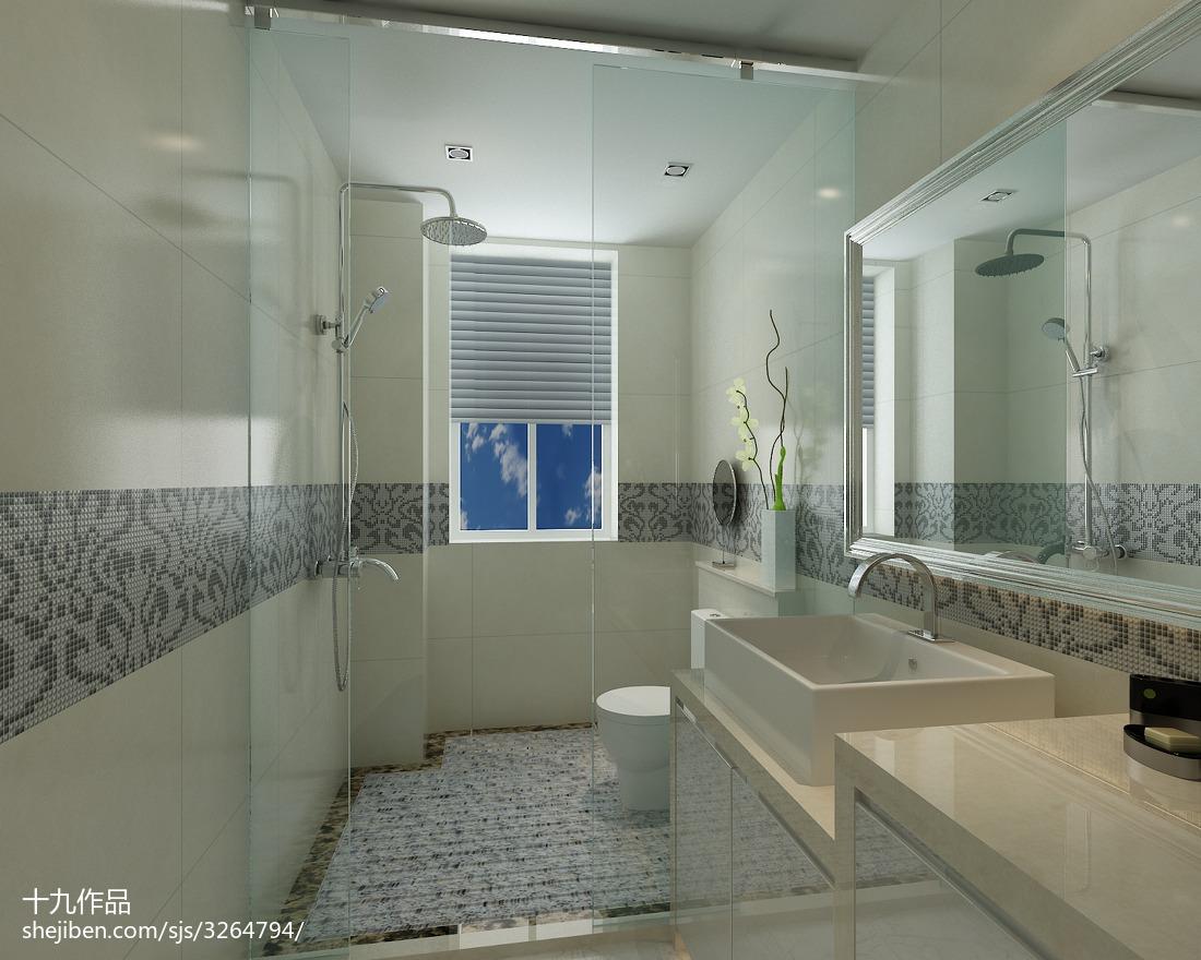 热门面积92平现代三居卫生间欣赏图片