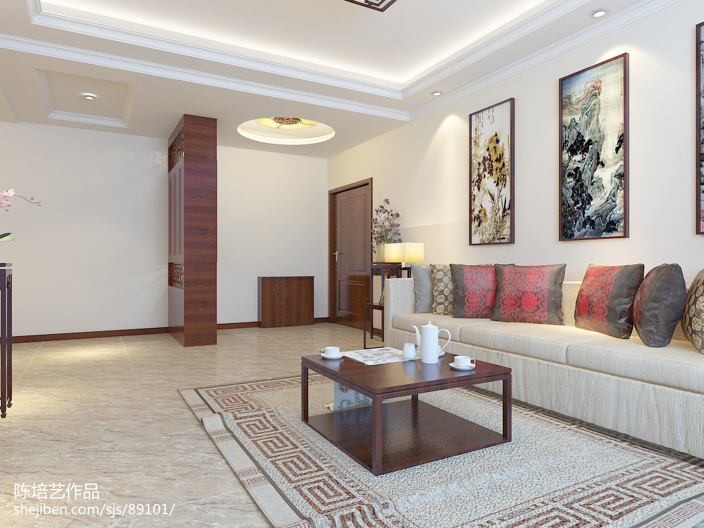 热门100平方三居客厅中式装修欣赏图片