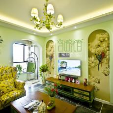 热门90平米三居客厅田园装修效果图片