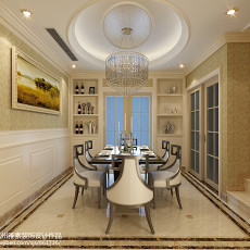 面积96平欧式三居餐厅装修图片