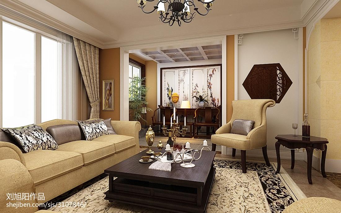 輕奢58平中式復式客廳裝修效果圖