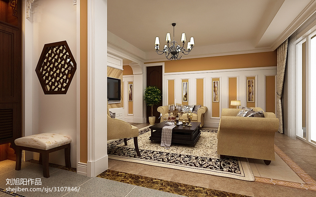 精美面積136平復式客廳中式實景圖片