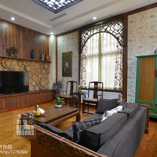 面积124平别墅客厅中式装饰图片欣赏