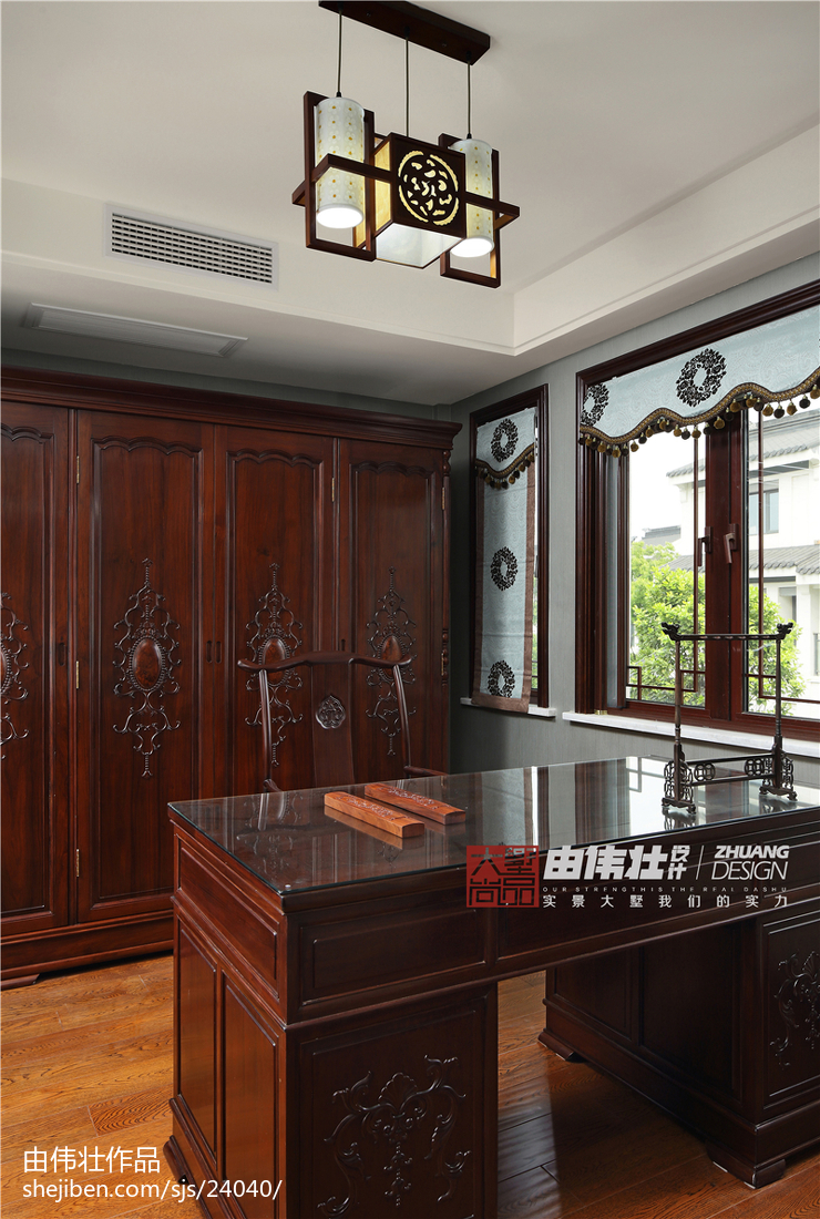 热门120平米中式别墅书房欣赏图片大全