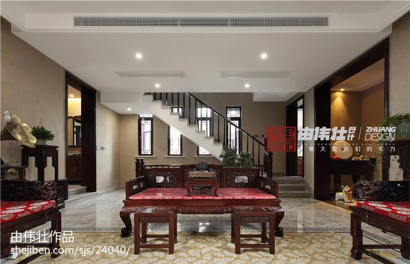 热门面积134平别墅客厅中式装修欣赏图片大全