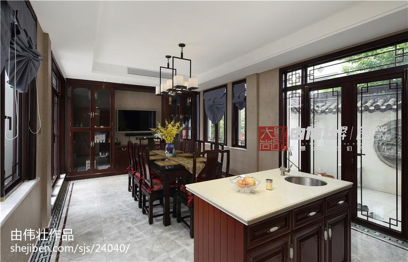 热门面积127平别墅餐厅中式实景图片