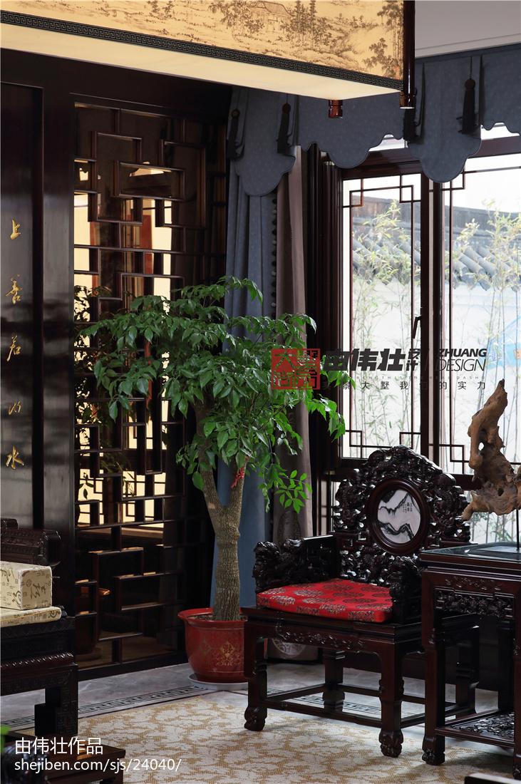 热门大小121平别墅客厅中式装修欣赏图