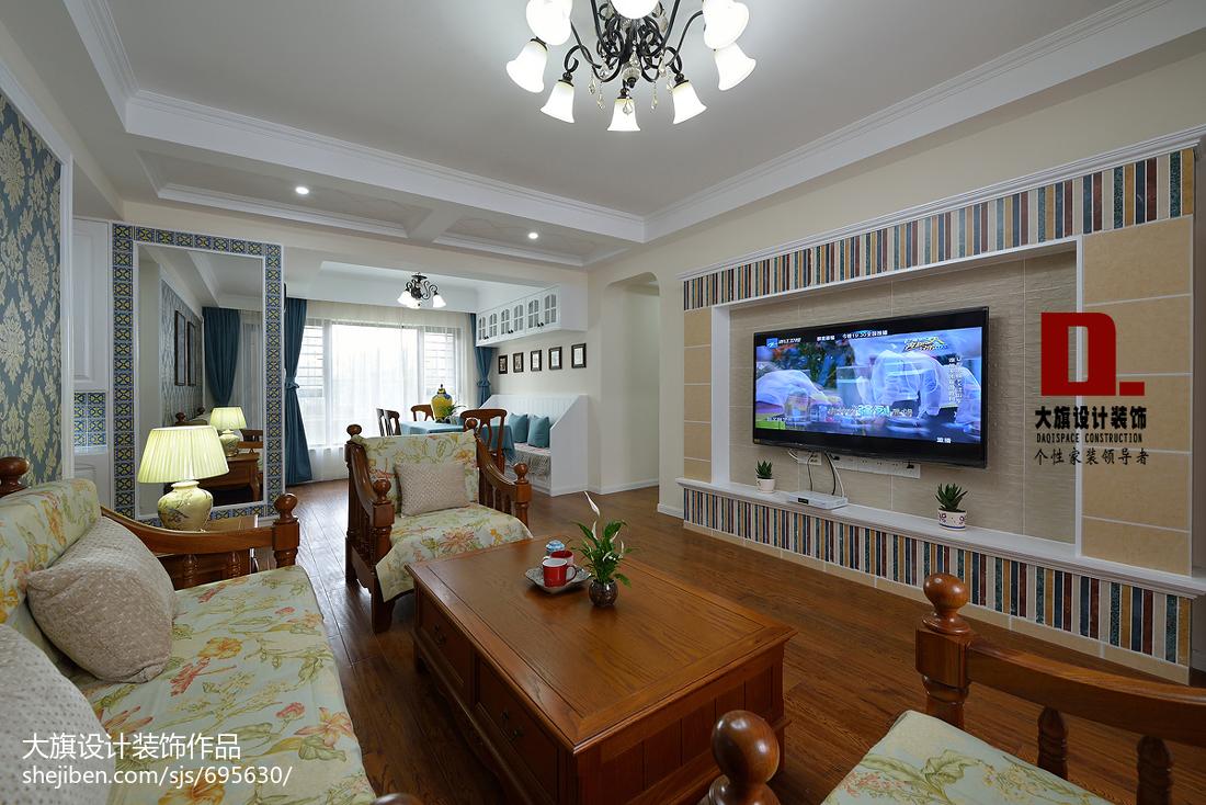 2018111平米四居客厅美式效果图
