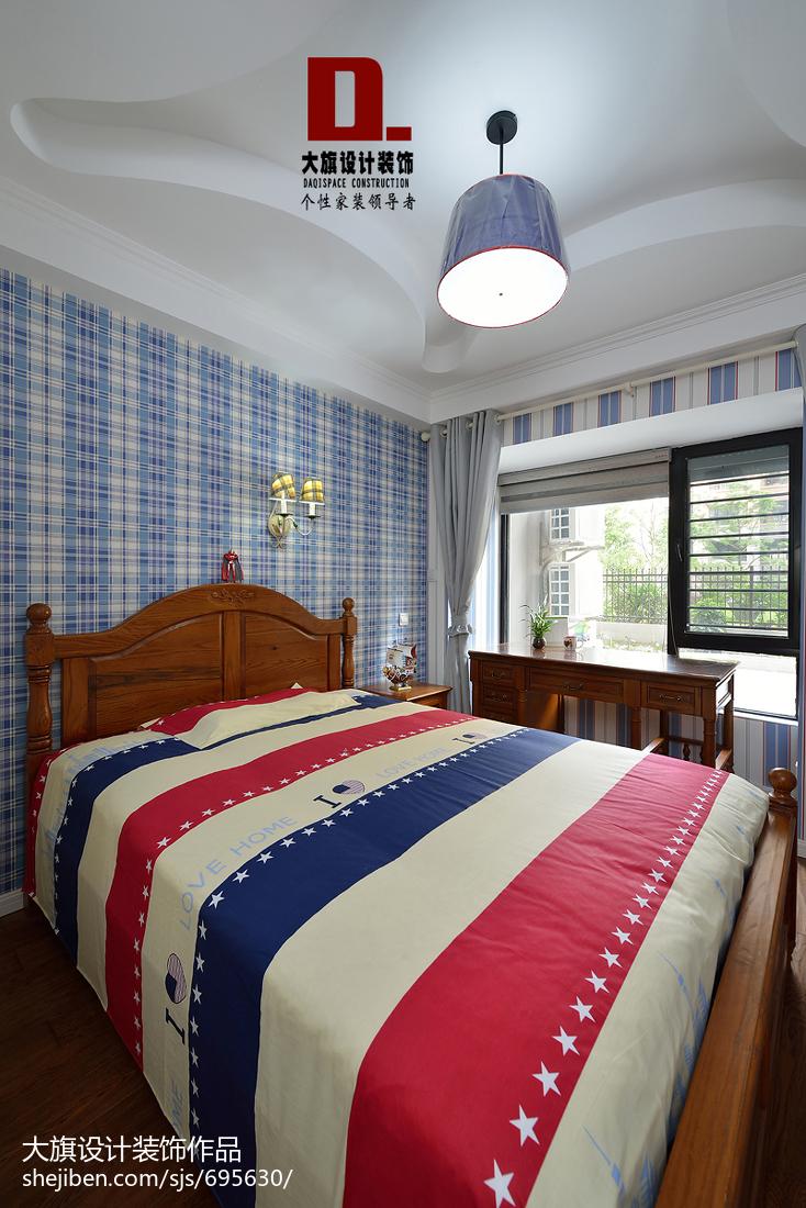 热门面积120平美式四居卧室装修设计效果图片欣赏