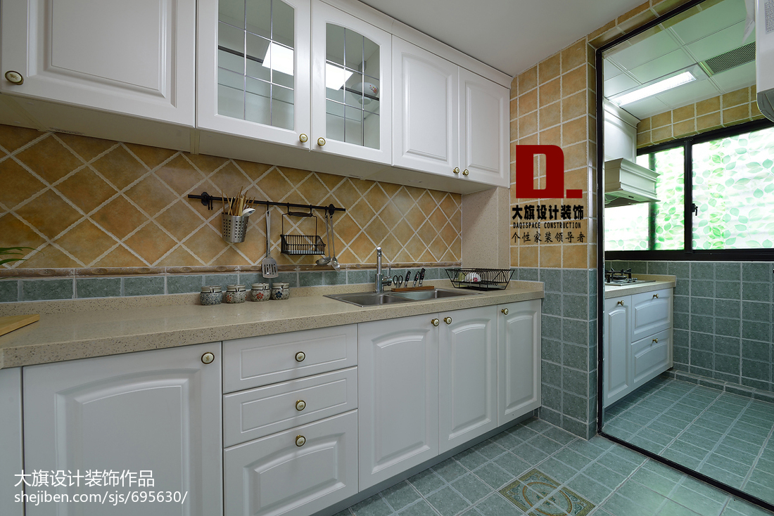 2018126平米四居厨房美式装饰图片