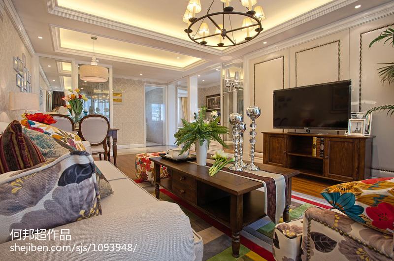 97平方三居客厅美式装修效果图片欣赏