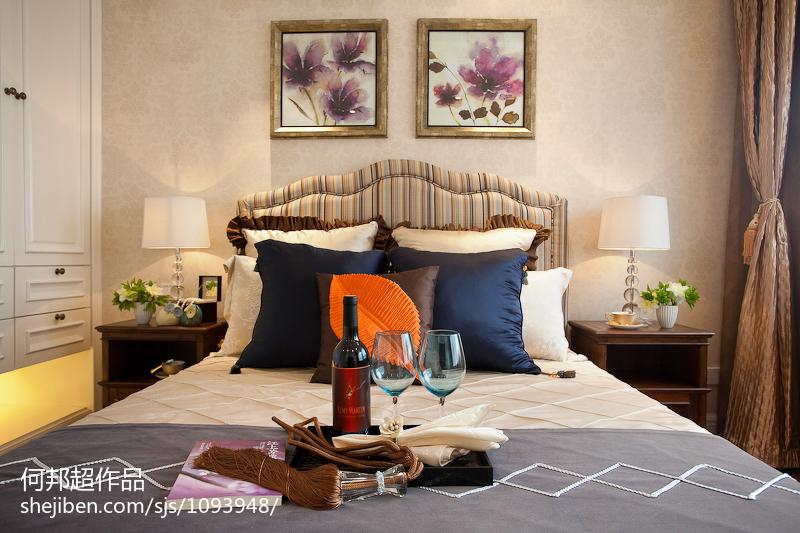 热门107平米三居卧室美式装修欣赏图
