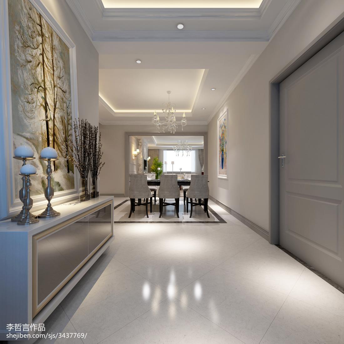 2018精选124平方欧式别墅玄关装修设计效果图片欣赏