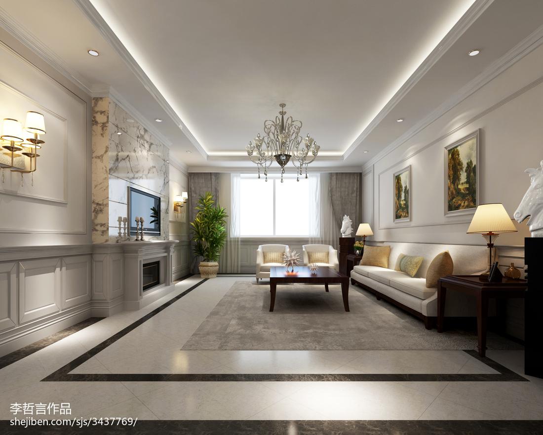 2018精选面积125平别墅客厅欧式装修效果图片