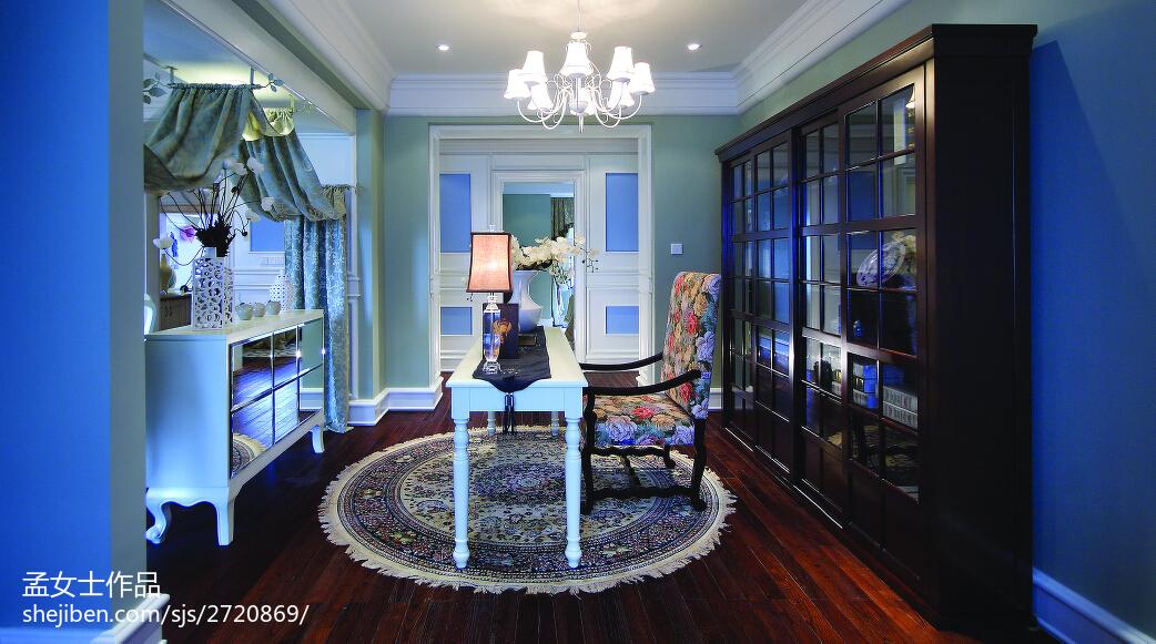 精选大小121平别墅书房中式装饰图片
