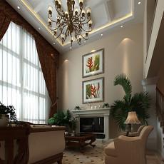 134平方美式别墅客厅装修实景图