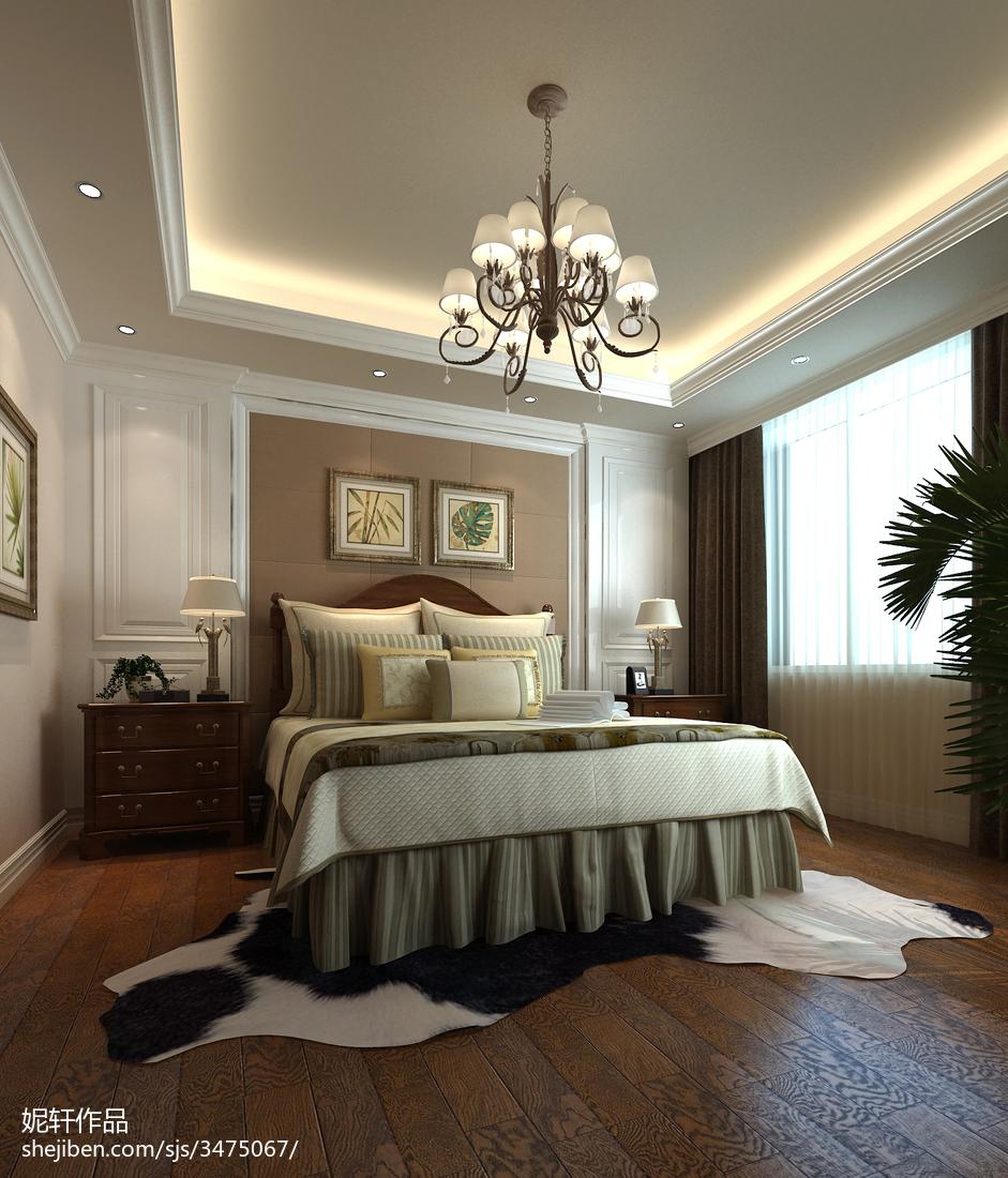 精选面积121平别墅卧室美式装修设计效果图片欣赏