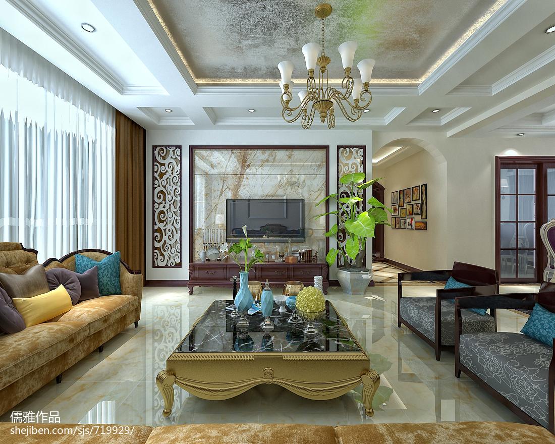 精选面积106平欧式三居客厅装饰图片欣赏
