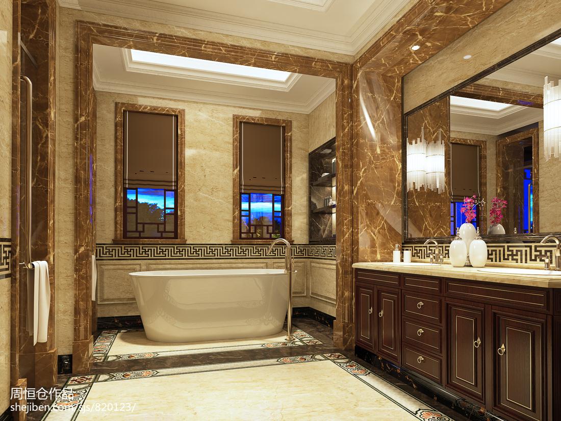 精选面积133平别墅卫生间中式装修图片大全