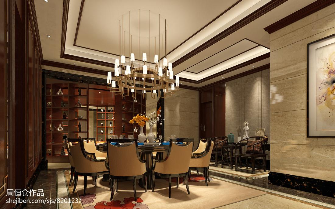 热门136平米中式别墅餐厅装修图片欣赏