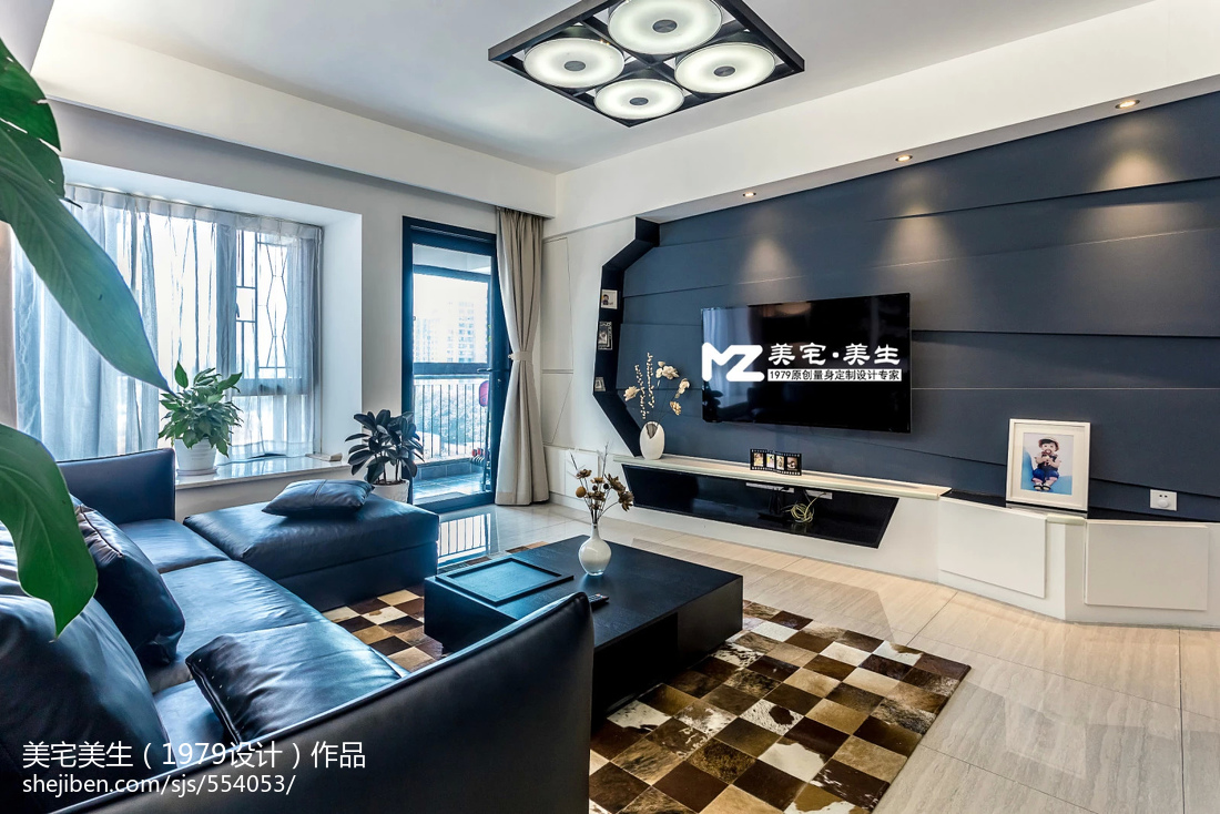 現代時尚客廳電視背景墻裝修圖片