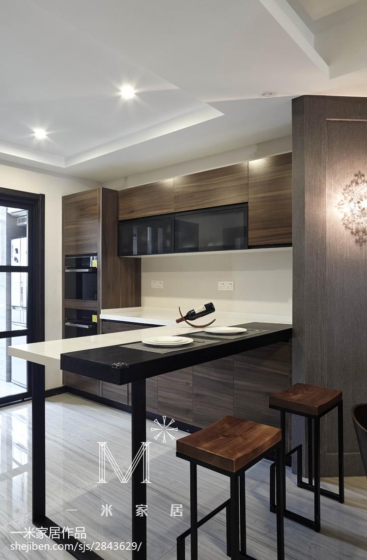 230㎡现代风厨房吧台设计效果图