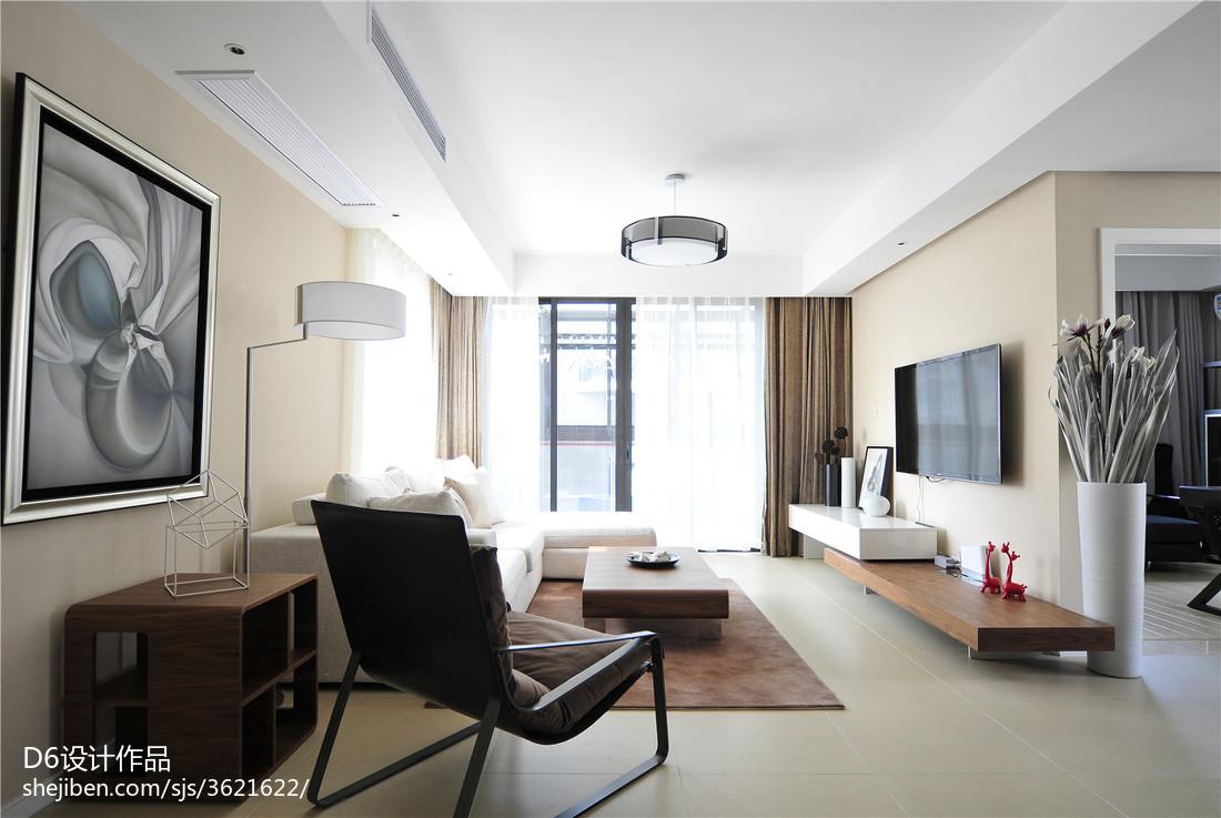 大小107平现代三居客厅效果图