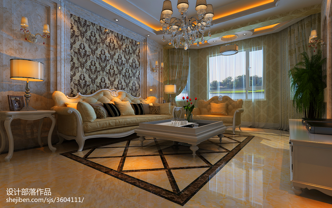 面积92平欧式三居客厅装修实景图片