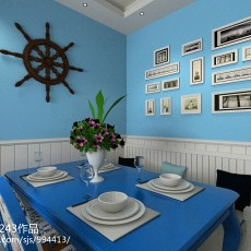 117平米四居餐厅地中海装饰图片