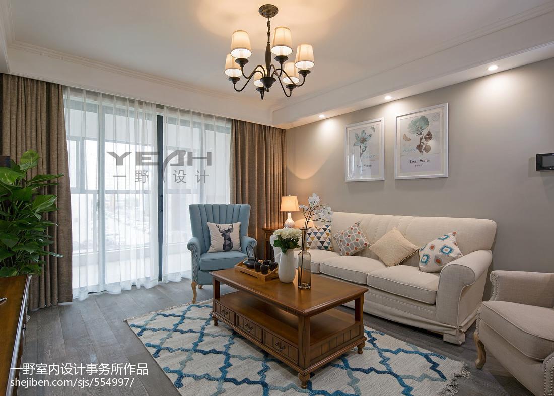热门面积102平美式三居客厅装修设计效果图片