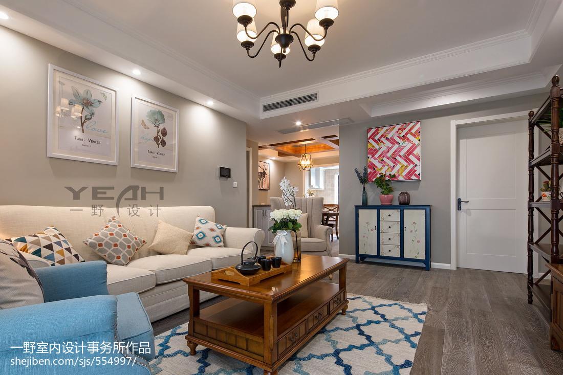 精选面积90平美式三居装修设计效果图片