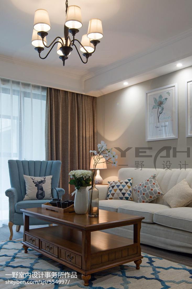 热门105平米三居客厅美式装修设计效果图片大全