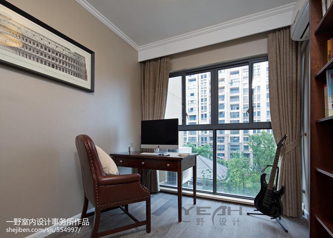 热门面积106平美式三居书房效果图片大全