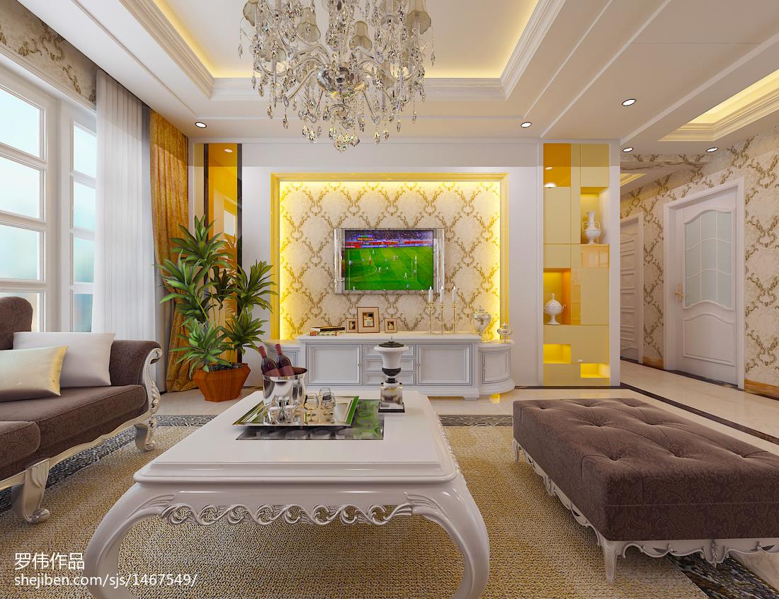 热门91平米三居客厅欧式装修欣赏图