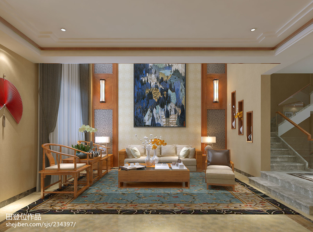 面积136平别墅客厅中式实景图