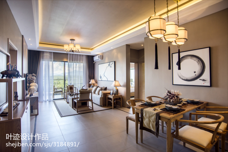 中式客廳吊頂樣板房裝修設計