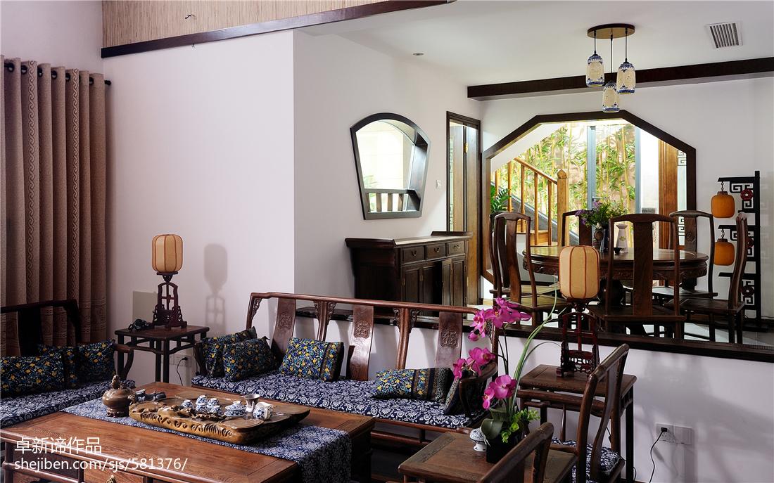 热门136平米中式复式客厅装修设计效果图片